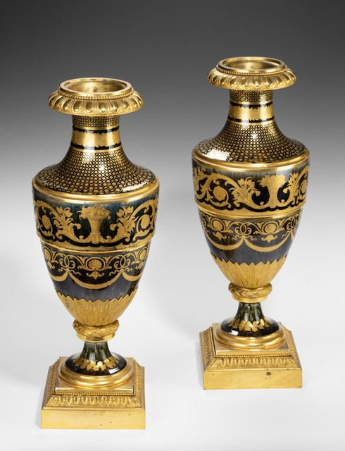 , 'Pair of Ormolu-Mounted Agate Ground Porcelain Vases ,' ca. 1800, Thomas Coulborn & Sons