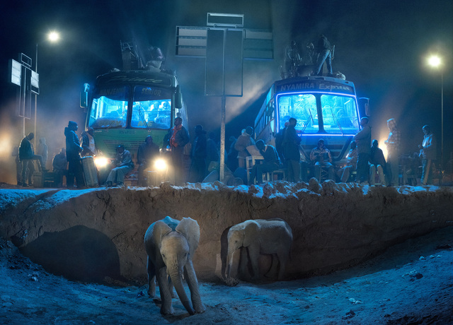 , 'Bus Station with Young Elephants,' 2018, Fahey/Klein Gallery