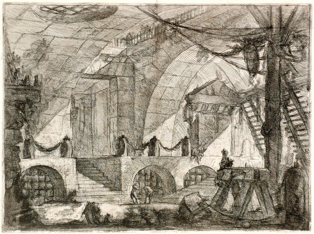 ", 'The Sawhorse from ""Carceri d'Invenzioni"" (Imaginary prisons) series,' 1749-1760, Thomas French Fine Art"