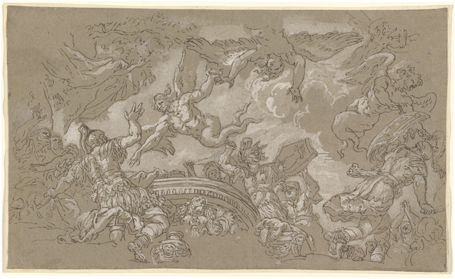Johann Carl Loth, 'The Harpies Attacking Aeneas and His Companions', 1670s/1680s, Drawing, Collage or other Work on Paper, Pen and brown ink over traces of black chalk, heightened with white on light brown laid paper, National Gallery of Art, Washington, D.C.