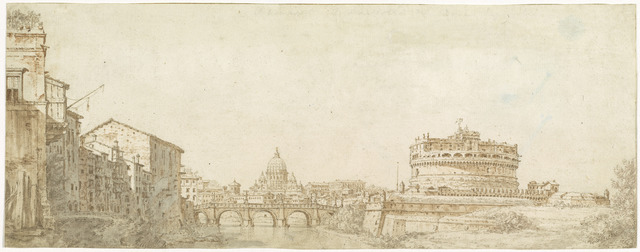 Giuseppe Zocchi, 'View of Rome with the Dome of Saint Peter's and the Castel Sant' Angelo', ca. 1750, Drawing, Collage or other Work on Paper, Pen and brown ink with sanguine, brown, and gray wash over graphite on laid paper, National Gallery of Art, Washington, D.C.