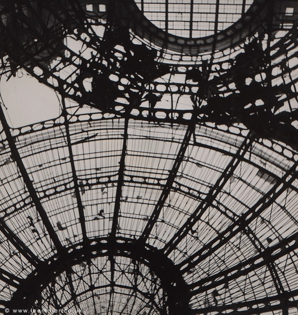 , 'Spider web of steel is the roof of the Festhalle, Frankfurt, Germany,' 1945, Lee Miller Archives