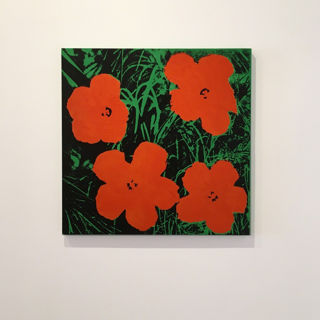 Sturtevant Appropriation of Andy Warhol Flowers, 22 x 22 inches  in Icons by Legends Online at Joseph K. Levene Fine Art, Ltd.