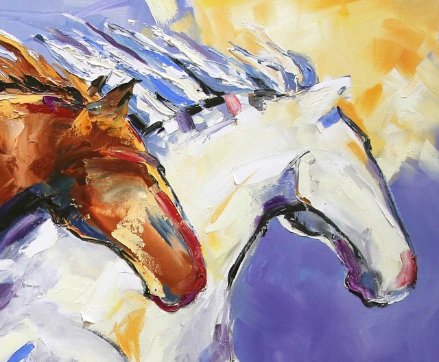 Laurie Pace, 'Original Horse Painting 'Cliffhangers' Colorful Equine Art, Modern Western Art', 2017, Painting, Oil on Canvas, Fringe Gallery