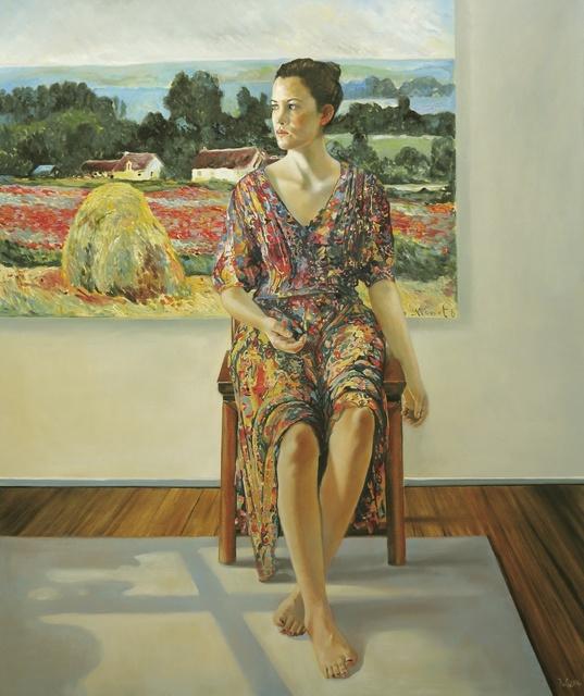 , 'Sitting Woman with Monet's Poppy Field,' 2014, Joerg Heitsch Gallery