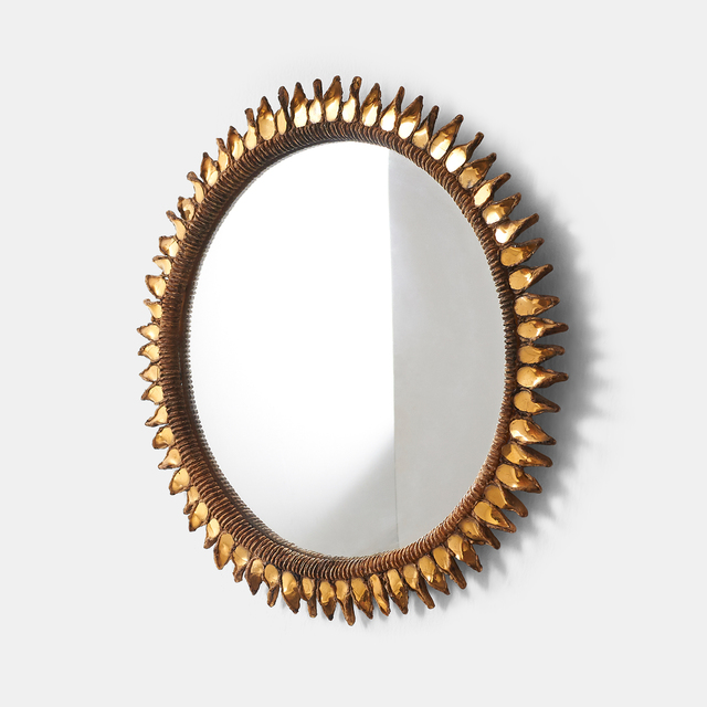 """, 'Large """"Golden Thistle"""" Mirror by Line Vautrin,' 1955-1965, Almond & Co."""