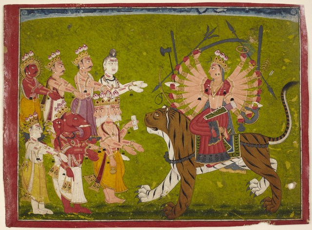 , 'The Goddess Durga on a Lion from the Devi Mahatmya,' 18th century, Princeton University Art Museum