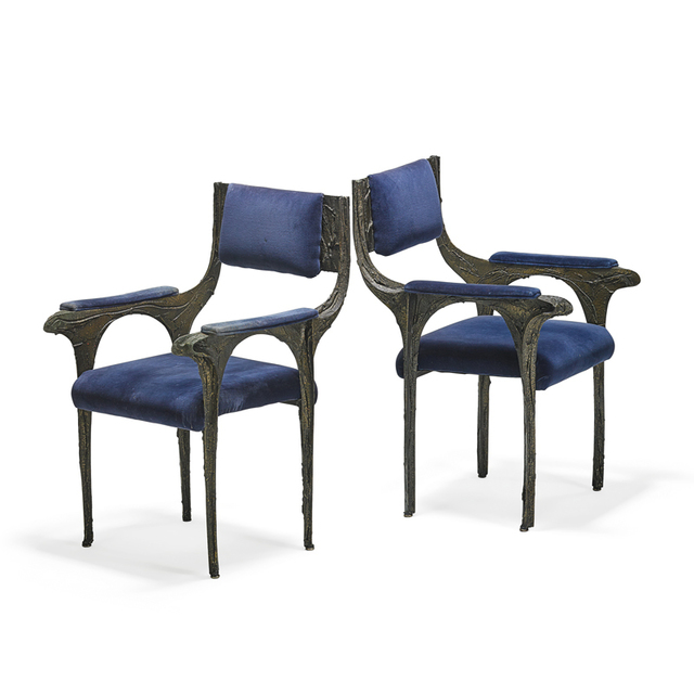 Paul Evans, 'Pair of rare Sculpted Bronze armchairs, New Hope, PA', 1970s, Rago