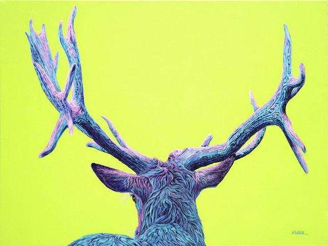 Helmut Koller, 'STAG ON YELLOW- GREEN', 2019, Galerie Barbara von Stechow
