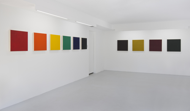 , 'From the Inventory: Shade Paintings: Group 6: Scarlet Lake, Schevenengen Orange, Cadmium Yellow, Emerald Green, Ultramarine Blue,Dioxizine Purple,' 2013, Hammer Museum