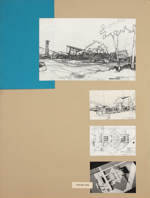 , 'Presentation panels for Parish and Nursery of St. Matthews Church, Pacific Palisades, CA with vintage original photograph and reproductions of renderings,' 1953, Edward Cella Art and Architecture