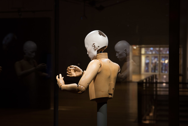 Elizabeth King, 'Pupil', 1987-1990, Sculpture, Porcelain, glass eyes, carved wood (Swiss pear), brass., MASS MoCA