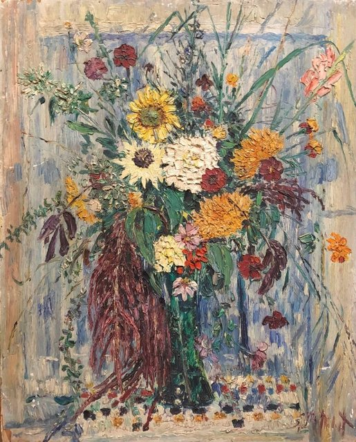 Samuel Rothbort, 'Large Modernist Floral Bouquet Impasto Oil Painting of Flowers in a Vase', 20th Century, Painting, Oil Paint, Wood Panel, Lions Gallery