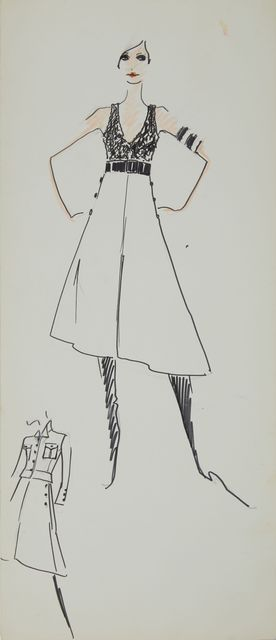 Karl Lagerfeld, 'Karl Lagerfeld Original Fashion Sketch Ink Pen with Marker Drawing Contemporary Art', 1963-1969, Mixed Media, Ink Pen with Marker on Paper, Modern Artifact