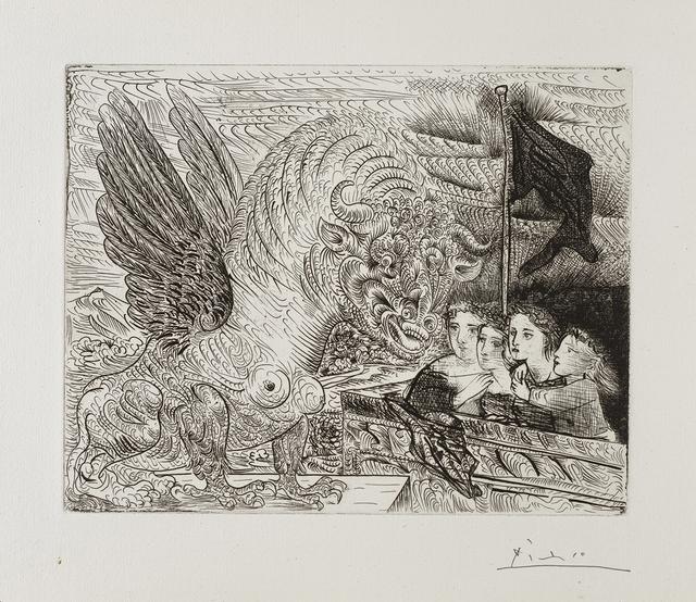 , ''Harpye à tête de Taureau, et quatre petites Filles sur une Tour surmontée d'un Drapeau noir' from the 'Suite Vollard',' 1931, Frederick Mulder