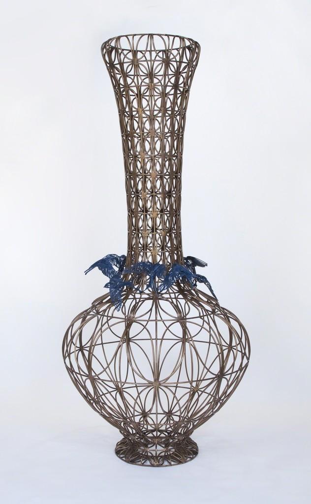 Kim Cridler, 'Bottle with Blue Birds,' 2014, Lisa Sette Gallery