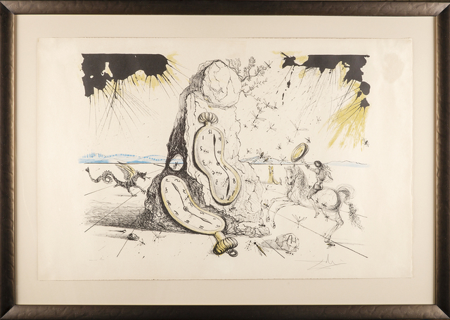 Salvador Dalí, 'Cosmic Rays Resuscitating Soft Watches Color Lithograph, Surrealist Contemporary Art', 1970-2010, Print, Color Lithograph, Modern Artifact