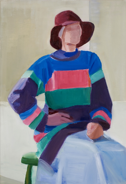 , 'Self Portrait in Long Striped Sweater,' 1993, Tibor de Nagy