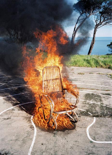 , 'Burning Wicker Chair,' 2011, Huxley-Parlour