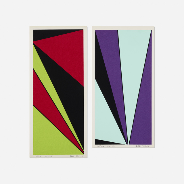Olle Baertling, 'Untitled (two works from The Angles of Baertling - Open Form, Infinite Space portfolio)', 1955, 68/1964, 68, Print, Screenprint on paper, Rago/Wright