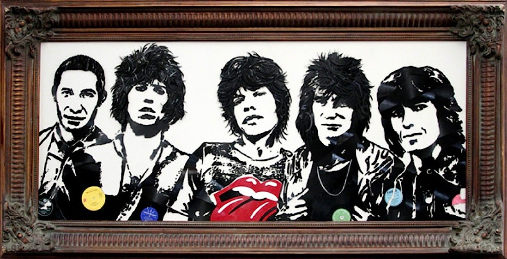 Rolling Stones by Mr. Brainwash, a mixed media painting using broken vinyl records.