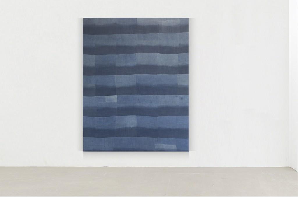 """installation view """"Untitled (Indigo patchwork), 2017"""", Indigo dyed hemp, 190 x 150 cm / 74,8 x 59 in"""