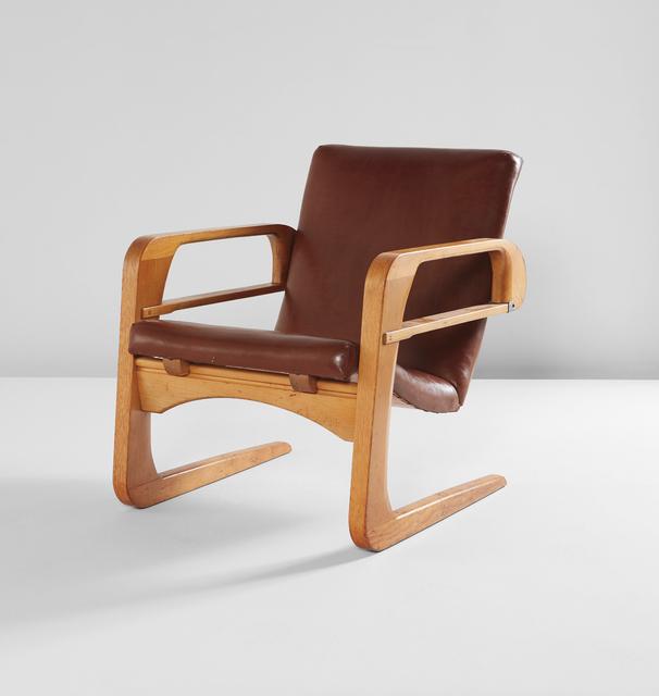 Kem Weber, 'Air Line armchair', designed 1934, Design/Decorative Art, Birch veneer, ash, naugahyde, steel, Phillips