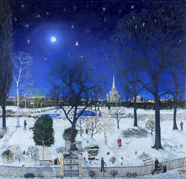 , 'Moonlit Park Snow,' 2016, Rebecca Hossack Art Gallery
