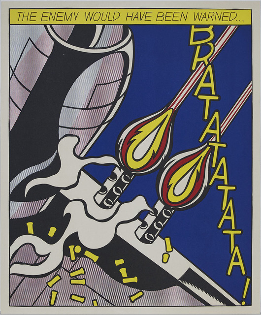 Roy Lichtenstein, 'The Enemy Would Have Been Warned... (One Plate Only, #2, From As I Opened Fire, Triptych)', 1964, Print, Offset colour lithograph on wove paper, Waddington's
