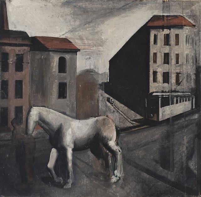 , 'Periferia con cavallo bianco,' 1921-1922, Matteo Lampertico