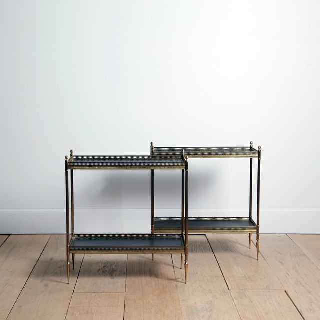 , 'PAIR OF BRASS AND LEATHER ETAGÈRES ATTRIBUTED TO MAISON JANSEN,' ca. 1960, Lawton Mull