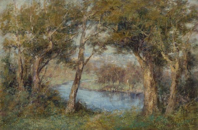 Fred McCubbin, '(The Pool, Heidelberg - View of the Yarra River towards Richmond from below McCubbin's House, Kensington Road)', 1910, Charles Nodrum Gallery