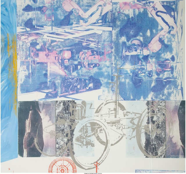 Robert Rauschenberg, 'Azure Reef (Renault Paper Work)', 1984, Painting, Solvent transfer and acrylic on fabric laminated paper with aluminum mat, Heritage Auctions