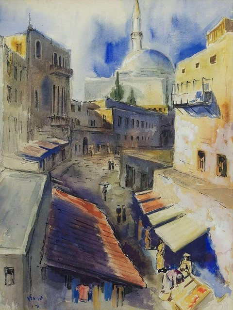 Zvi Adler, 'Painting of Old Town Of Akko, Acre, Israel', Mid-20th Century, Lions Gallery
