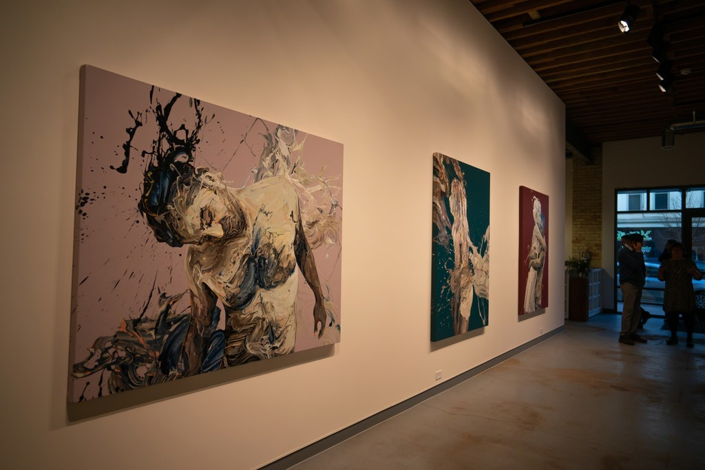 """Left to right at opening reception are """"Transcription 48 (Endeavor)"""", """"Transcription 42 (Of the Stimuli)"""" and """"Transcription 45""""."""