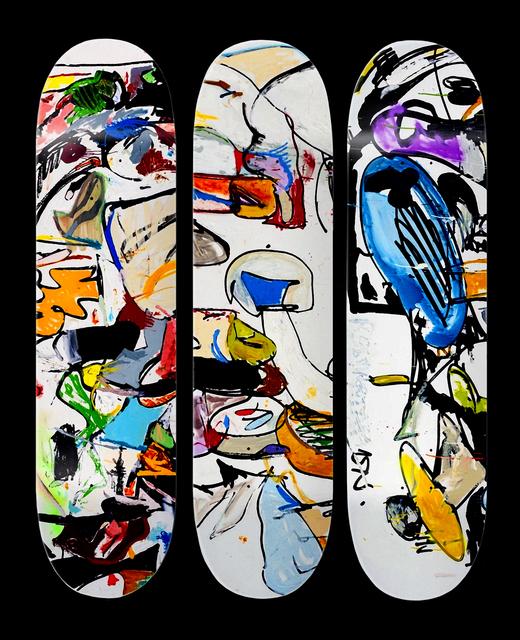 Eddie Martinez, 'Set Of Three Skate Decks', 2016, Other, Archival photo print and screenprint on seven-ply Canadian maple Skate Decks, Tate Ward Auctions