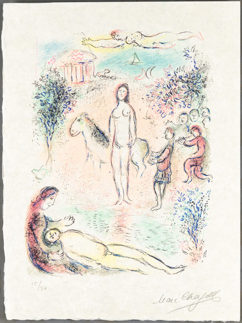 Marc Chagall, 'FRONTISPIECE from L'Odyssée', 1974, Print, Original lithograph printed in colors on Japan Nacré paper., Christopher-Clark Fine Art