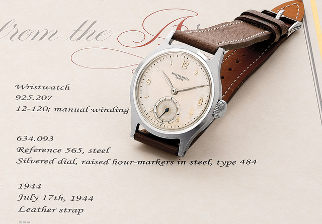 Patek Philippe, 'A very fine and rare stainless steel wristwatch with silvered dial and subsidiary seconds', 1944, Phillips