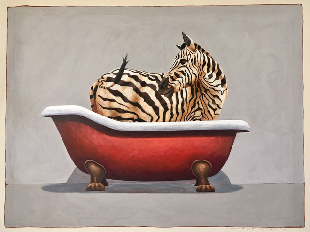 "Santiago Garcia, '""#672"" Oil painting of a black and white zebra in a red clawfoot tub', 2012-2019, Eisenhauer Gallery"