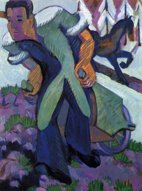 , 'Bauer einen Schubkarren ziehend,' 1925, Henze + Ketterer