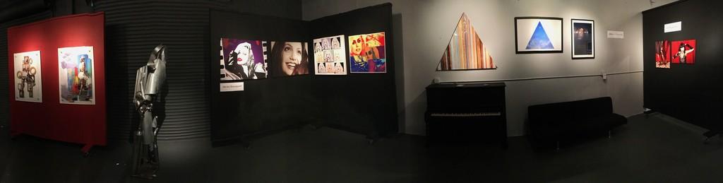 Back gallery installation shot (from left): Michel Bourquard, Arturo Gonzalez, William Dey, sculpture by Mario Pikus