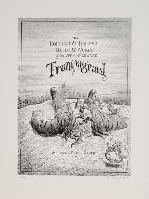 ", 'Trumpagruel #1 (title page), From the Portfolio ""The Horrible & Terrible Deeds & Words of the Very Renowned Trumpagruel"",' 2017, Auckland Print Studio"