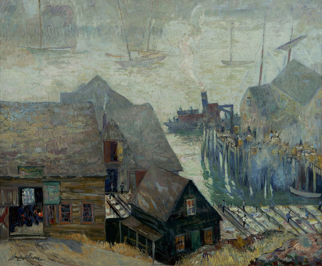 , 'Gloucester Rooftops and Harbor,' ca. 1920s, Debra Force Fine Art
