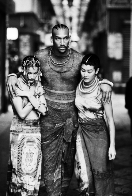 ", 'Survivors (Laetitia Casta, Vladimir McCary, Jenny Shimizu) (Jean Paul Gaultier's ""Tattoos"" women's spring-summer ready-to-wear collection of 1994),' 1998, Brooklyn Museum"
