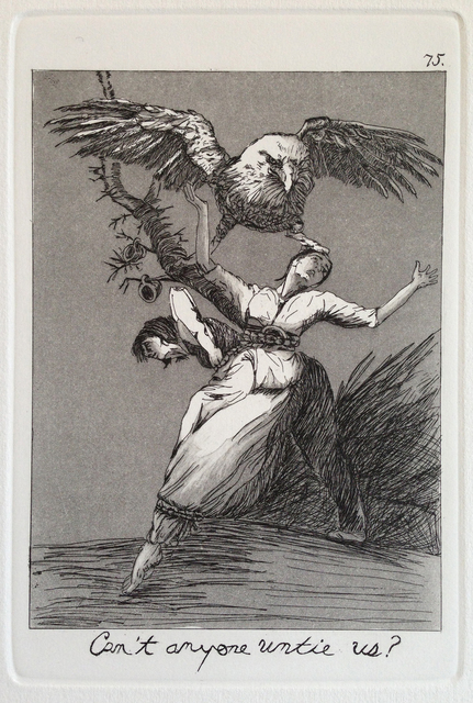 Emily Lombardo, 'Can't anyone untie us?, from The Caprichos', 2013, Print, Etching and aquatint, Childs Gallery