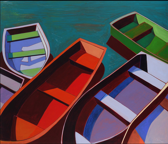 , 'Abstract Boats with Turquoise Water,' 2015, Caldwell Snyder Gallery