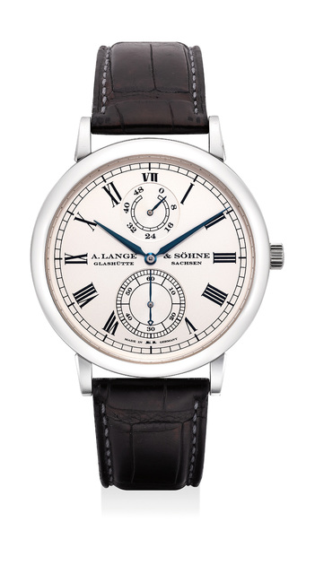 A. Lange & Söhne, 'A very fine and rare platinum wristwatch with power reserve indication, zero-reset feature, guarantee and box, numbered 14 of a limited edition of 100 pieces', Circa 2007, Phillips