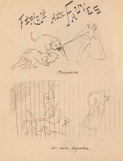 Unknown, 'Fériojé aux Fauves', 1894, Drawing, Collage or other Work on Paper, Original China Ink Drawing, Wallector
