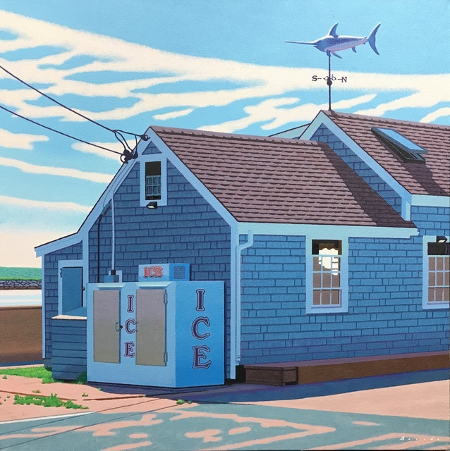 "Rob Brooks, '""Menemsha Ice"" photorealistic oil painting of an ice machine in Martha's Vineyard fishing village', 2019, Eisenhauer Gallery"