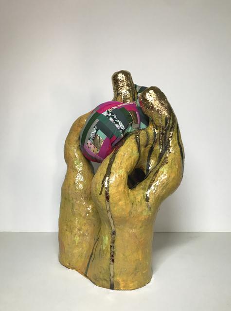 Ak Jansen, 'Ceramic and textile sculpture: 'No. 5'', 2019, Sculpture, Ceramic, glaze, 14 karat gold, fabric, thread, Ivy Brown Gallery